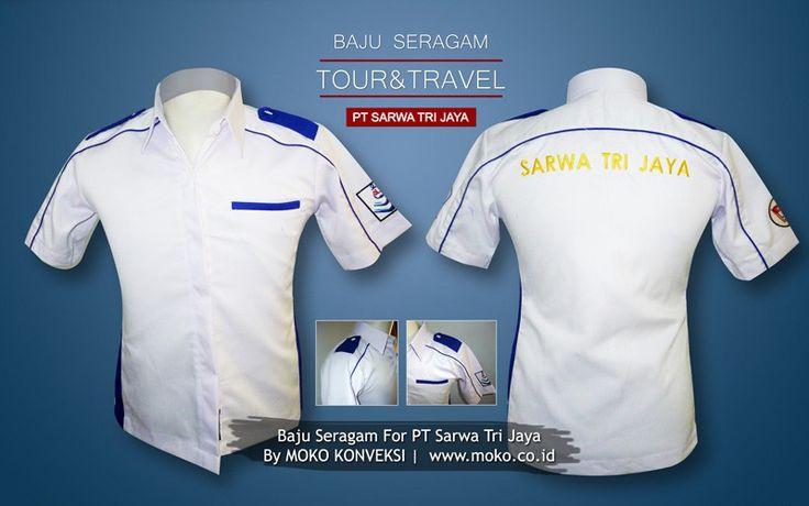 Pakaian Seragam PT Sarwa Tri Jaya Tour & Travel [Surabaya - Jawa Timur - Indonesia] by @mokokonveksi  Pakaian seragam custom desain dengan variasi pangkat dan strip list, yang dibuat menggunakan bahan nagata japan drill. Bahan kain yang dikenal luas oleh masyarakat untuk pembuatan seragam.