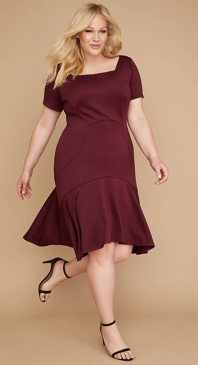 7b2a1b307f9f Plus Size Scuba Fit & Flare Dress - Plus Size Fashion for Women #plussize