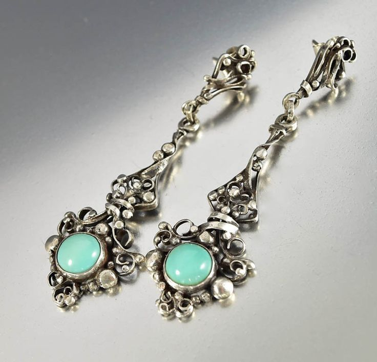 Arts & Crafts Sterling Silver Turquoise Earrings   #Sterling #Art #Turquoise #Earrings #Arts #Silver #TGIF #Victorian #Classic #Hair