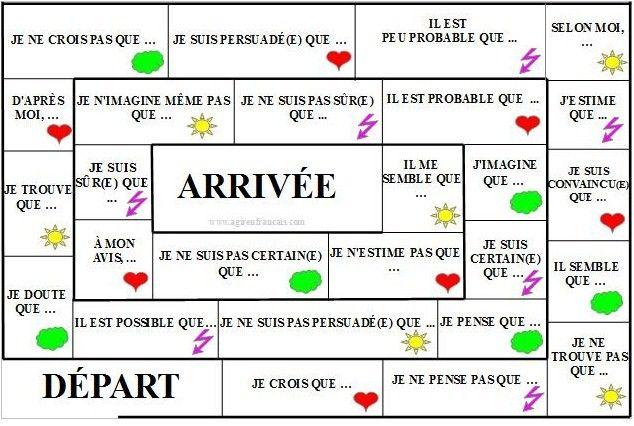 Agir en Français - Jeu de l'oie créé pour les apprenants de niveau B1 / B2 qui souhaitent apprendre le subjonctif et exprimer leur opinion sur divers sujets