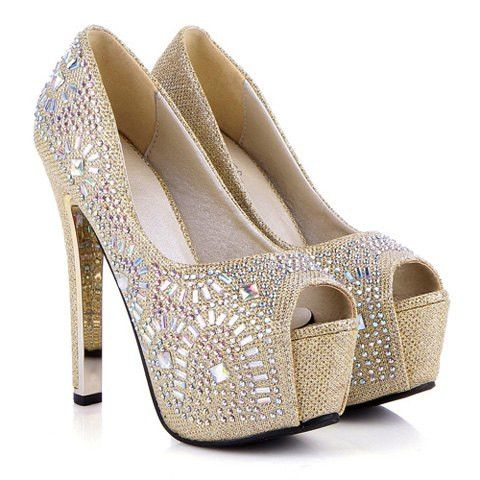 Georgous peep toed shoes with Rhinestones