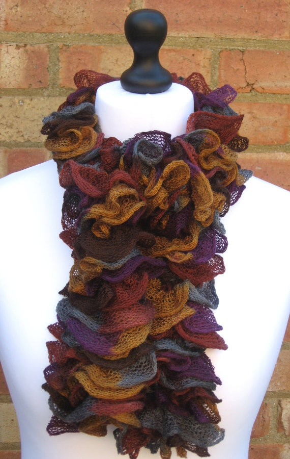 Ruffle Scarf  Brown Blue Burgundy Amber by LookingGlassDesigns1, £14.00