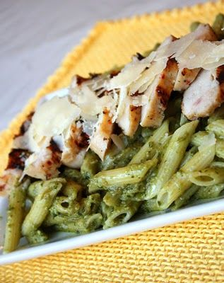 Avocado Penne Pesto with Grilled Chicken.