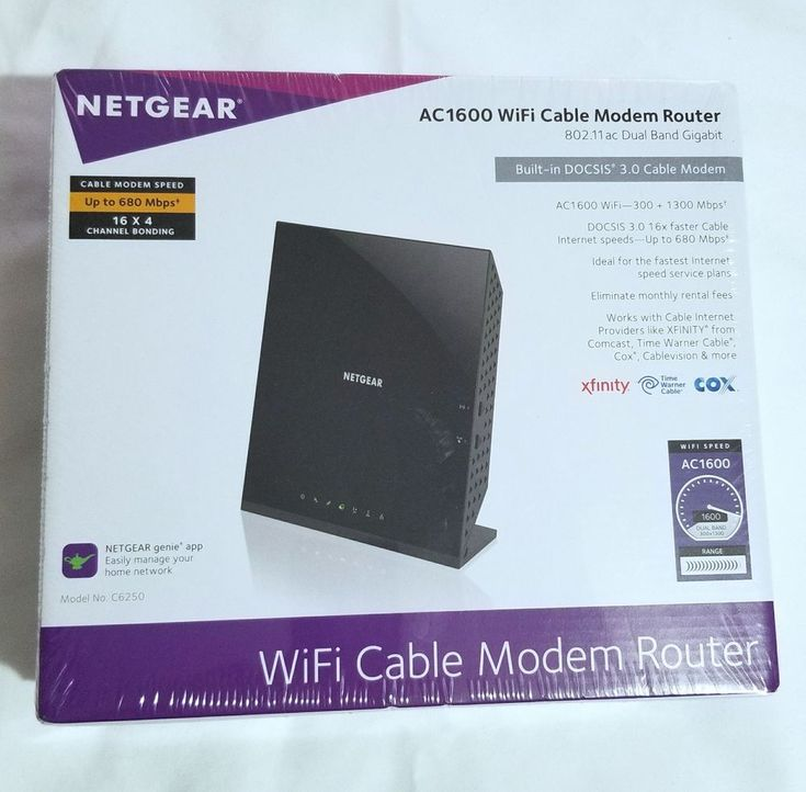 NEW Netgear AC1600 Dual-Band WiFi DOCSIS Cable Modem Router C6250-100NAS #NETGEAR