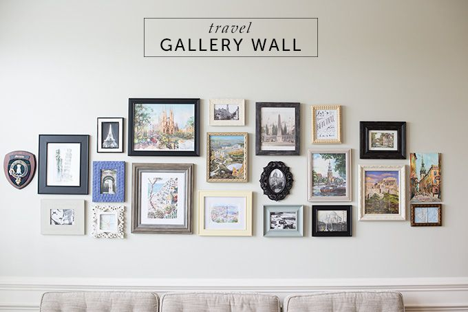 DIY Gallery Wall Travel inspiration and memories in the form of a gallery wall with unique frames and images, maps and postcards from abroad.