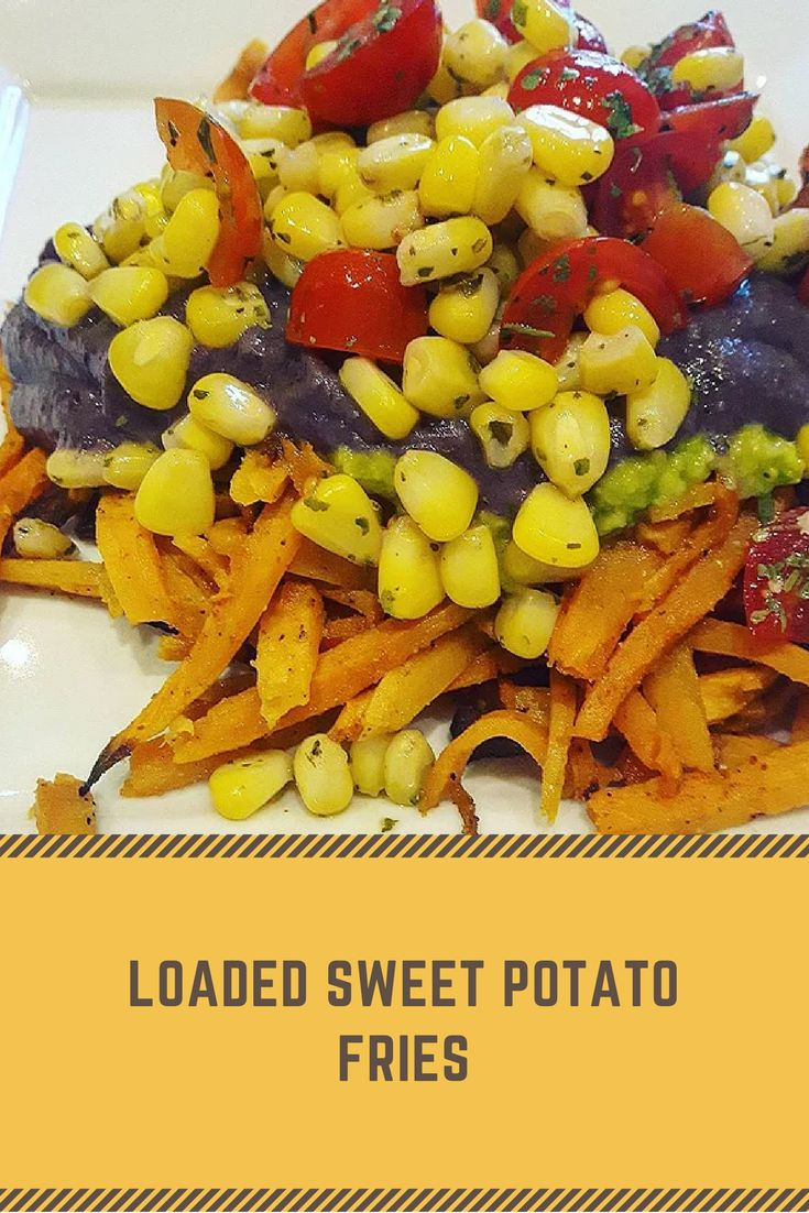 loaded sweet potato fries.  vegan recipe