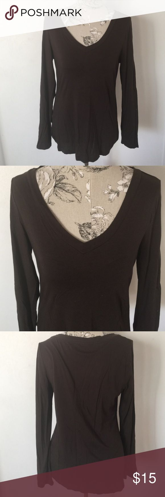 loft Brown Ling Sleeve Top L Excellent condition. 60% Pima cotton 40% modal. V neck. LOFT Tops Tees - Long Sleeve