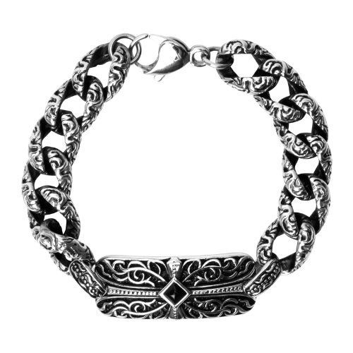 Sovereign Steel Ornate Bracelet with Gothic Scroll Cross Design and Black CZ Center In Antique Finish The New Sovereign Steel Collection From Inox Jewelry Is Forged From High Quality 316L Stainless Steel Which Means It's Tougher Than Any Biker Jewelry O Inox. $121.95. Save 28%!