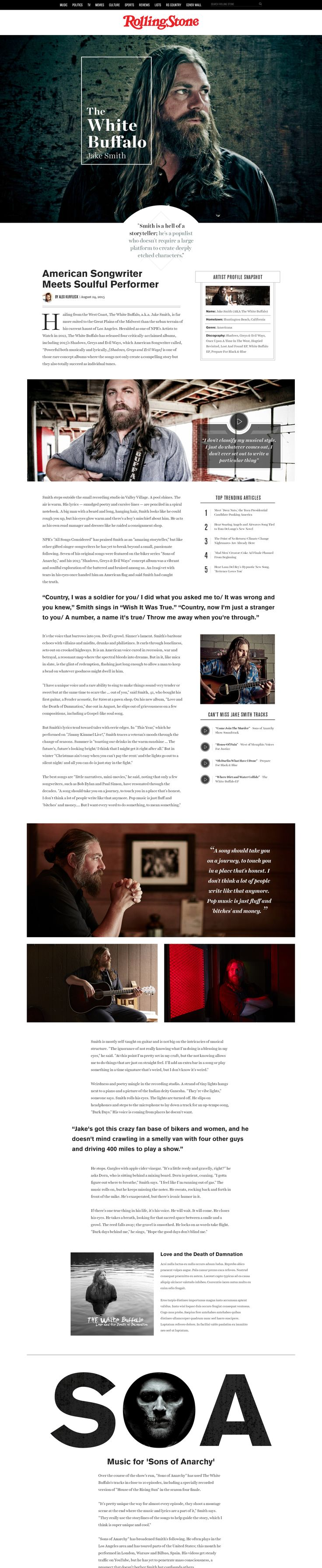 Rolling Stone website redesign concept by Jason Kirtley