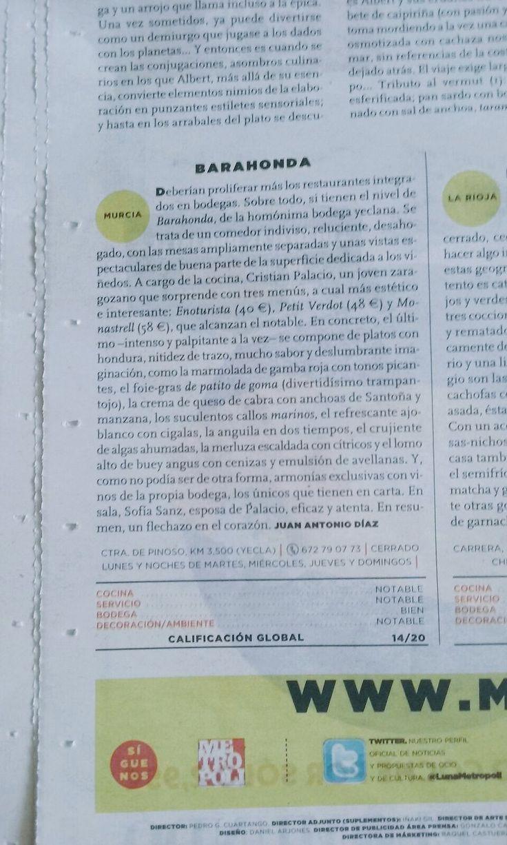 """Barahonda on Twitter: """"Crítica de nuestro restaurante en El Mundo, junto con la del Tickets Tapas Bar de los hermanos Adrià. https://t.co/ohi5vbJOW0"""""""