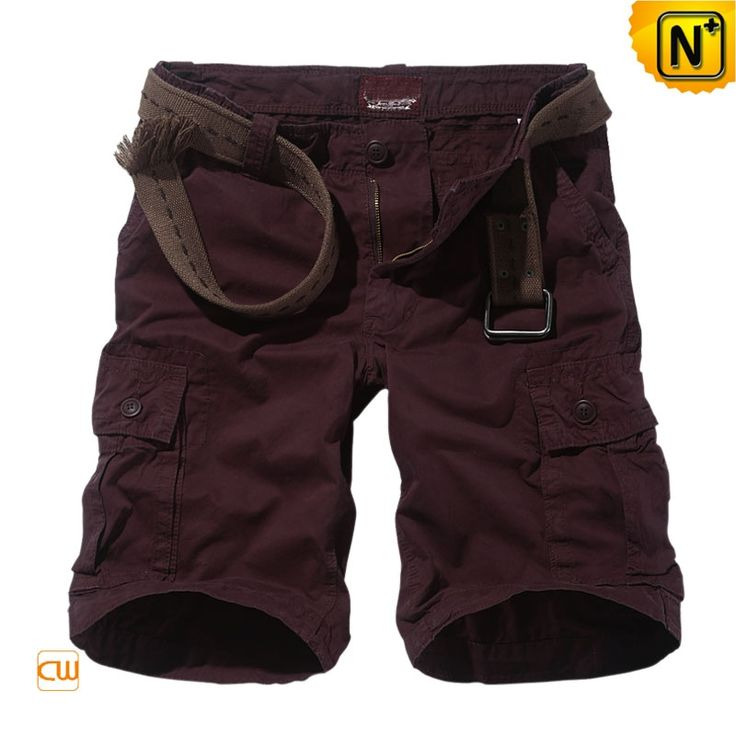 Mens Cotton Hiking Cargo Shorts CW140166 $69.89 - www.cwmalls.com Enjoy trendy comfort 100% cotton hiking cargo shorts for men with broken-in feel for a rugged sense of style, our wine red mens cargo shorts with belt offers a naturally menswear in summer!