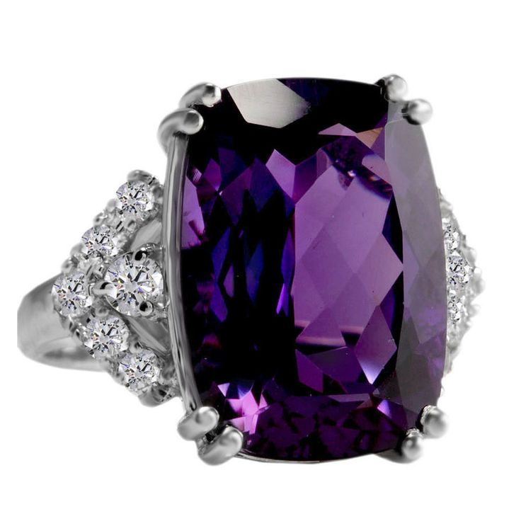 Estate 13.80 Carats Amethyst and Natural Diamond 14K Solid White Gold Ring $8799 #affinitygold #WithDiamonds
