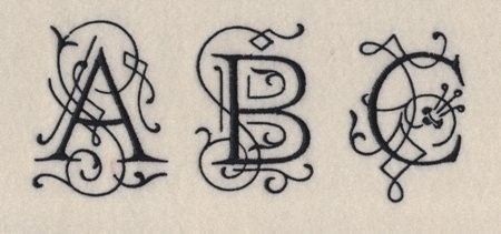 Ornamental Monogram Machine Embroidery Font in 4 by 8clawsandapaw