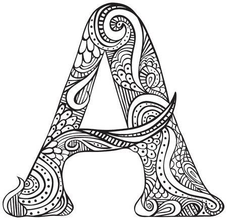Mano dibujado letra mayúscula A en negro - hoja para colorear para ...