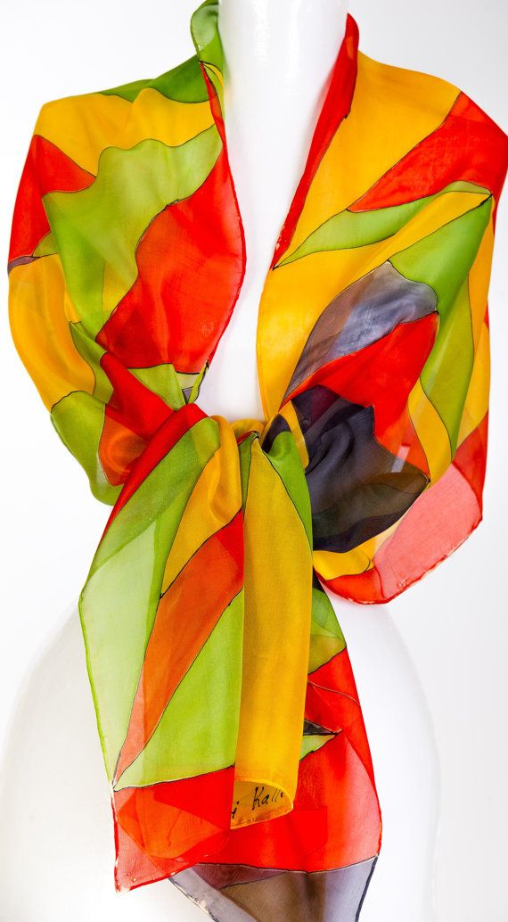 Hand Painted Silk Scarf Green Red Yellow by KallenSilkScarves