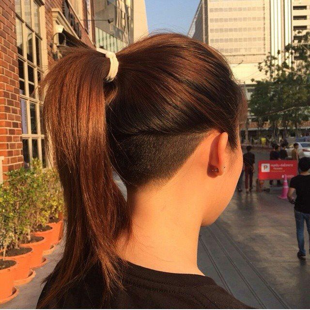 My girlfriend didn't want to cut her hair short as I wanted her to. But, at least, she agreed to get this undercut and I hope she is ok to get it higher and higher very soon