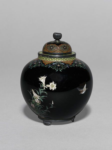 Lidded vase of copper body decorated with cloisonné enamels and with blackened silver mounts. Namikawa Yasuyuki,