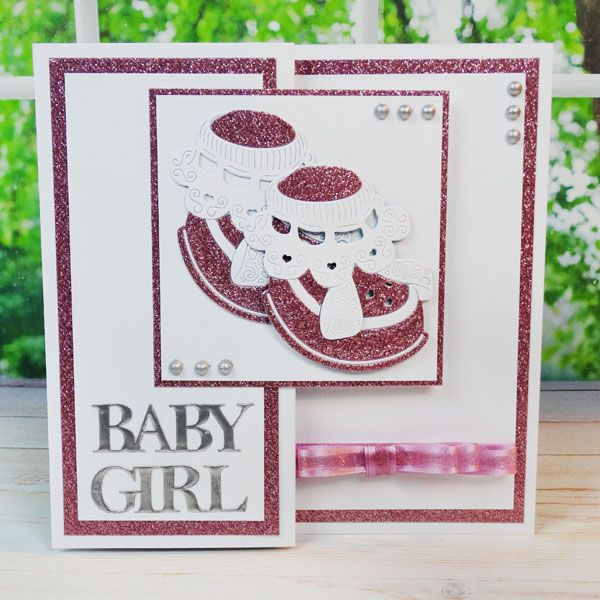 Girl Booties card from Tattered Lace! Shop dies now: http://www.createandcraft.tv/papercraft/dies+and+storage/brand--tattered+lace/Tattered_Lace_Multibuy_Baby_Girl_and_Boy_Bootie_Dies-331545.aspx?p=1 #papercraft #cardmaking