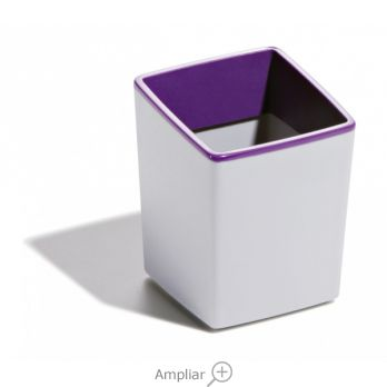CUBILETE PORTALAPICES DURABLE PLASTICO COLOR GRIS/MORADO CON BASE ANTIDESLIZANTE 100X79X79 MM