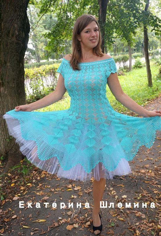 платье крючком,голубое платье по мотивам платья КАЙЛИ МИНОУГ. Работа Екатерины Шл