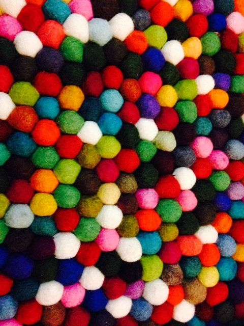 Multicolor Round Felted pompom/freckle rug 140 by Nepalhandicraft, $275.00