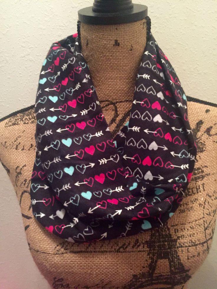 Heart, Arrow, Flannel Infinity Scarf, Dark colored, Valentines Scarf, Holiday, Warm Scarf, Christmas, Gift by ViasCutique on Etsy https://www.etsy.com/listing/458707800/heart-arrow-flannel-infinity-scarf-dark
