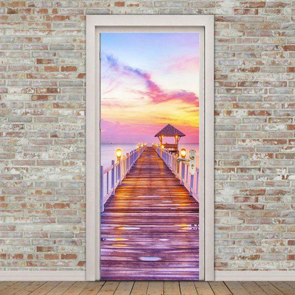 Seaside Wooden Bridge Pattern Door Wallpaper Stickers - Suede Rose 38.5*200cm*2pcs Mobile