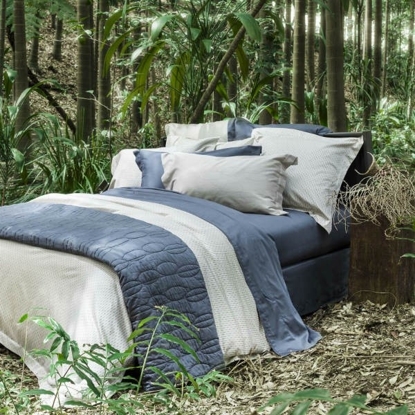 Sheets on the Line - Marquise Quilt Cover In sand and storm, sheets and coverlet in storm.