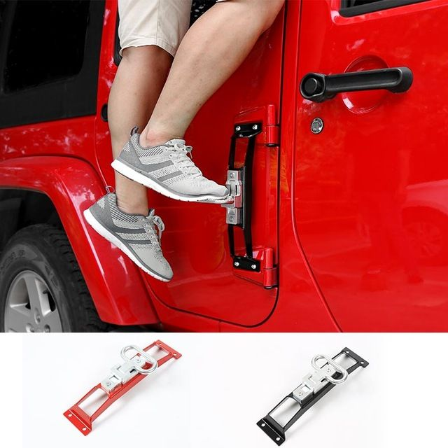 Unique Style Red Black Car Foot Rest Pedal Metal Foot Rest Pedals Plate Exterior Pedal Board for Jeep Wrangler 2007 up