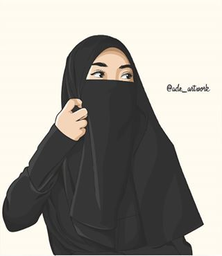 Wanita Muslimah Bercadar Animasi Gambar Kartun Muslimah Cantik