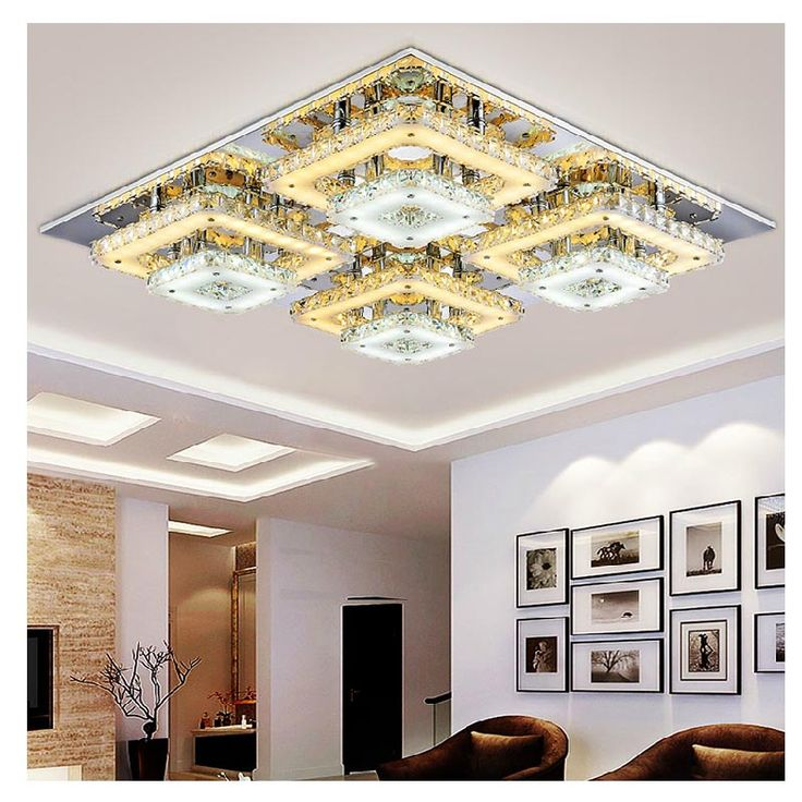 Ceiling Lamp Cover Suppliers Art Deco Remote Control Square Flush Mount Crystal Lights Fixture Foyer Led Wireless Living Room