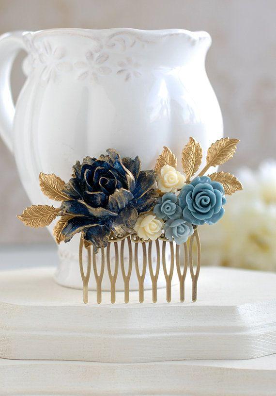 Fiore blu Navy blu scuro capelli pettine pettine di di LeChaim