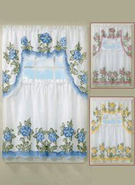 Floral Applique Kitchen Curtain Set - Found this in Carol Wright Gifts.