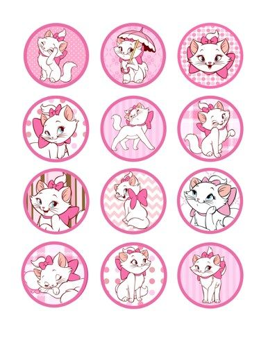 aristocats | 12 Aristocats Marie DIGITAL - PRINTABLE Party circles / Cupcakes ...