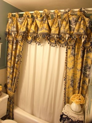 The Painted Parsonage: Girly Bathroom ReDo...using Drapes As A Shower  Curtain