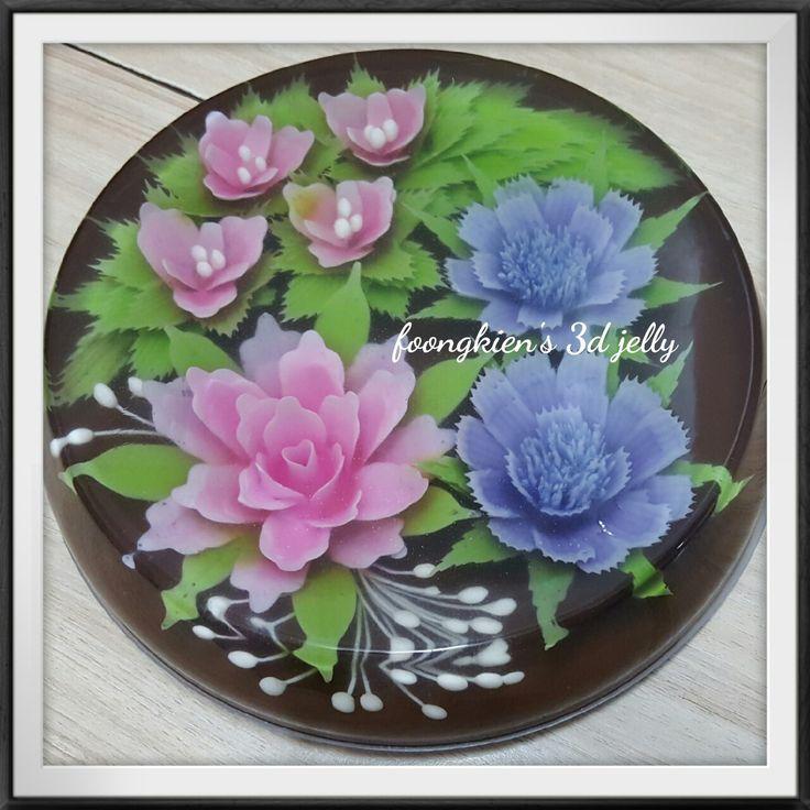 FLOWER INFILL Purple: Blue pea + dragonfruit Pink: Dragonfruit Green: Matcha powder White: Milk BASE Grass jelly