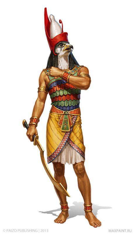Hórus, o altivo, é o deus dos céus. Marido de Hator, a vaca, é considerado o iniciador da civilização egípcia. Foi educado e treinado por Toth, o deus da sabedoria, que o instruiu e o criou até transformá-lo em um exímio guerreiro. Na luta que travou contra Seth, conquistou todo o Egito, unificando alto e baixo Egitos, e expulsou o tio para o deserto.
