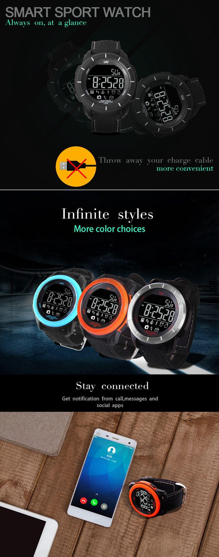 UU Smart 5 ATM Waterproof Stopwatch Bluetooth 4.0 Sport Pedometer Backlight Watch for iPhone Samsung