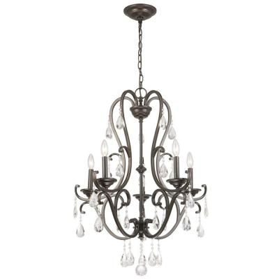 Hampton Bay 5-Light Oil Rubbed Bronze Crystal Chandelier-IHX9115A - The Home Depot