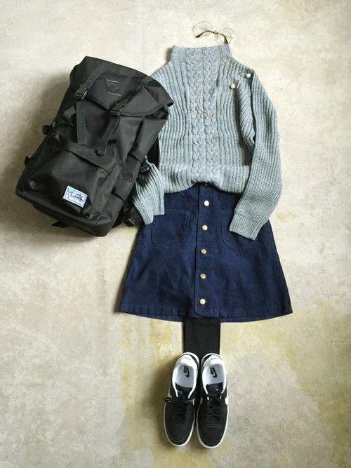 ナチュラル服のイタフラ │italie to franceのバックパック/リュックコーディネート-WEAR