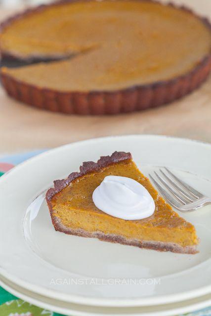 Paleo Pumpkin Pie with Pecan Crust - Against All Grain