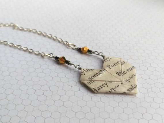 Literary origami heart necklace