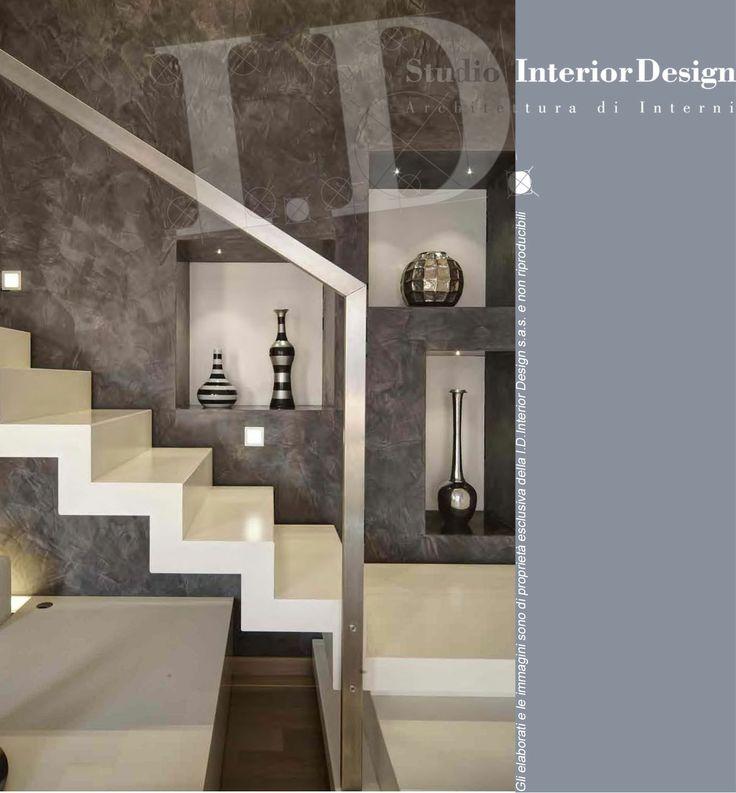 Scala moderna acciaio verniciato, villa nel milanese www.studiointeriordesign.it