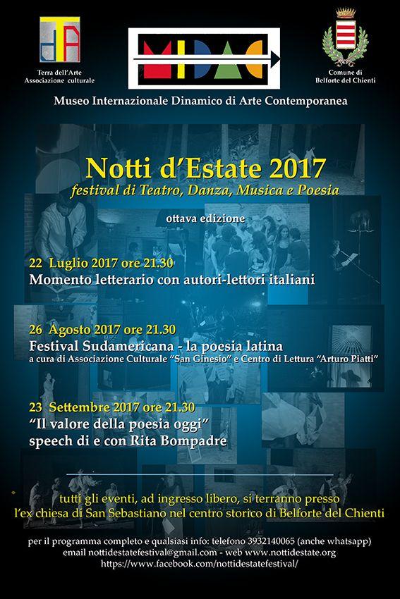 L'Associazione Culturale Terra dell'Arte, con il Patrocinio del Comune di Belforte del Chienti, presenta dli appuntamenti del Festival Notti d' Estate 2017