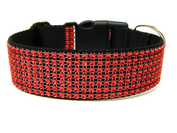 Red Rhinestone Dog Collar 1.5""