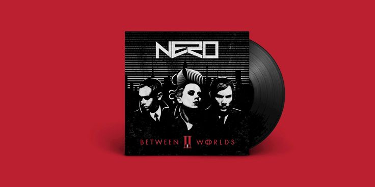 Nero: Between II Worlds album artwork designed by Human After All. I find this design for the New NERO album reminds me of a sin city style design. The use of Nero as a negative makes it much more visually pleasing. The composition would also be unbalanced without it. the deep red type and illustrations in the bottom half would make the piece bottom heavy. The design reminds me of Legend, the recent film about the kray twins keeping with the retro-futurism theme in the initial brief.