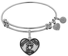 Angelica Proud Wife U.s. Marine Corps Heart Shaped Charm Expandable Bangle Bracelet.