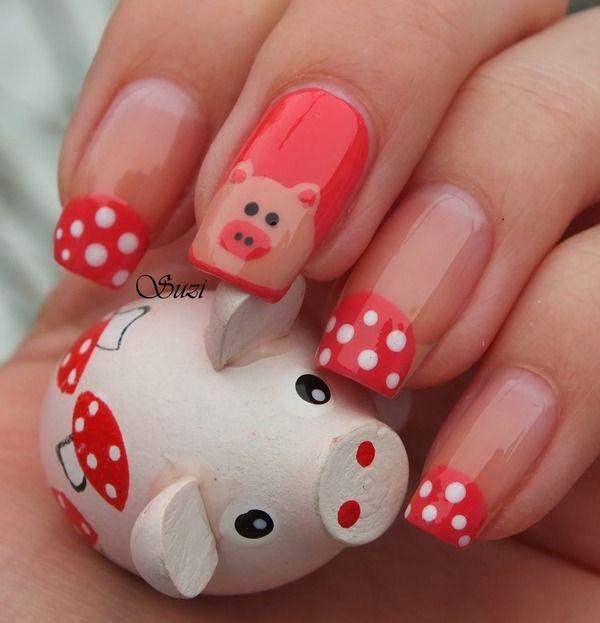 Piggy Nails I love pigs! - 1177 Best Nail Art Images On Pinterest Nail Art, Disney Nails
