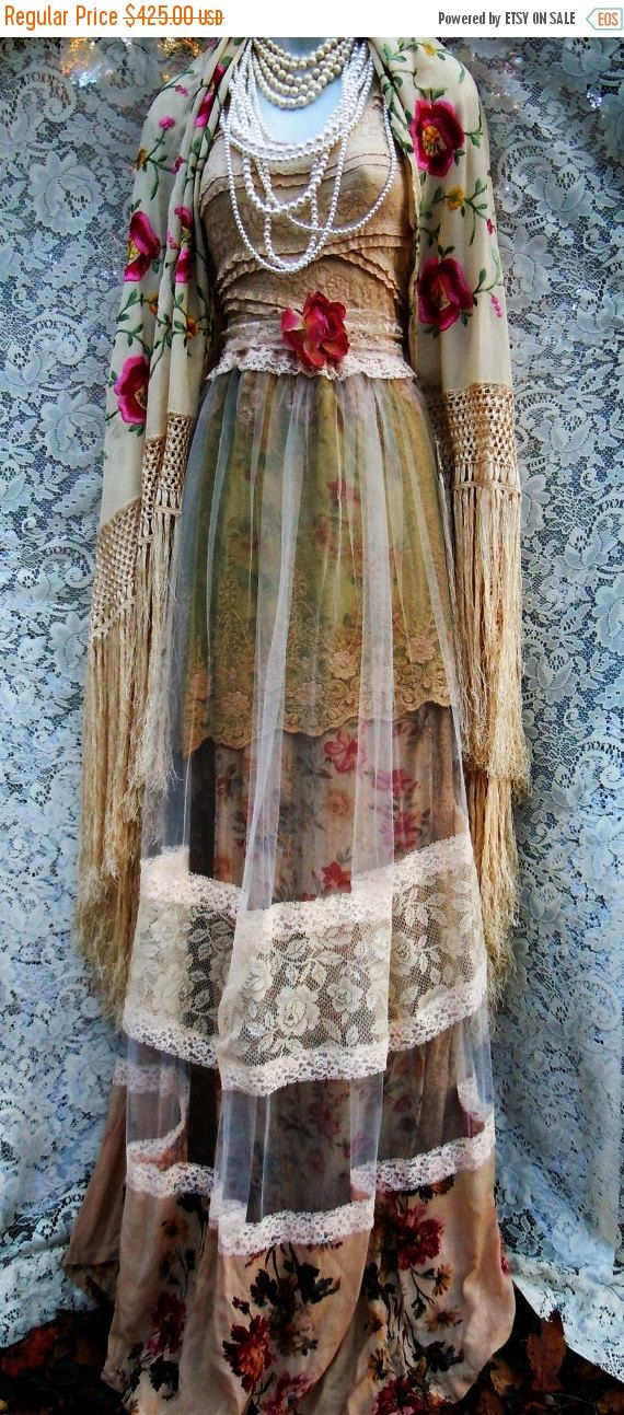 Valentines Sale Beige tulle  dress tea stained roses  cotton  crochet vintage  bohemian romantic small by vintage opulence on Etsy