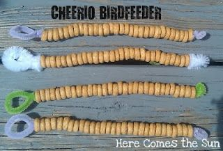 Cheerio bird feeders - two ingredients - cheerios and pipe cleaners!